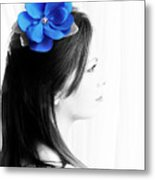 Flower Girl Blue Selective Colour Metal Print