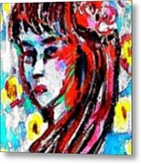 Flower Girl Portrait  Metal Print