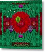 Flower Girl With Sunrose In Her Hair And Pandabears Metal Print