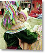 Flower Hmong Mother And Baby 02 Metal Print