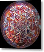 Flower Of Life Copper Lightmandala Metal Print