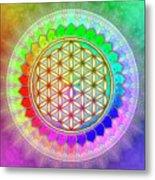 Flower Of Live - Rainbow Lotus 2 Metal Print