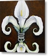 Flower Of New Orleans White Calla Lilly Metal Print by Judy Merrell