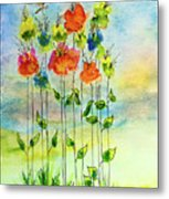 Flower Patch With Butterfly Metal Print