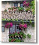 Flower Pots In Windows In Arles Metal Print by Carson Ganci