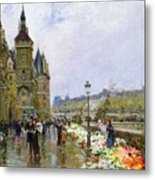 Flower Sellers By The Seine Metal Print