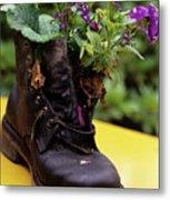 Flower Shoe Pot Metal Print