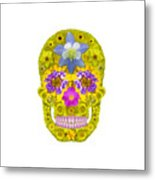 Flower Skull 3 Metal Print