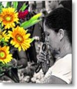 Flower Stall Metal Print