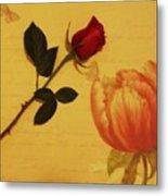 Flower Talk With Wallpaper Metal Print