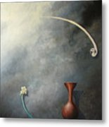 Flower, Vase And Bird 2 Metal Print
