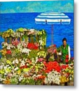 Flower Vendor In Sea Point Metal Print