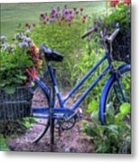 Flowered Bicycle Metal Print