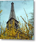 Flowered Eiffel Tower Metal Print