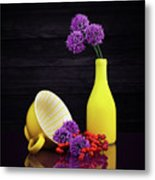 Flowering Onion With Yellow Metal Print