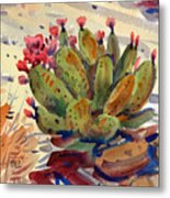 Flowering Opuntia Metal Print
