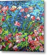 Flowering Shrub In Pink On Bright Blue 201676 Metal Print