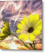Flowers Against A Busy Sky Metal Print