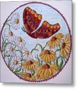 Flowers And A Butterfly Metal Print