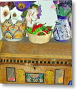 Flowers And Antique Chest Metal Print
