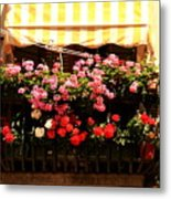 Flowers And Awning In Venice Metal Print