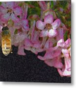 Flowers And Bees Metal Print