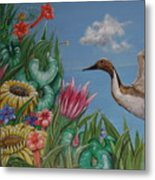 Flowers And Bird By The Sea Metal Print