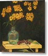 Flowers And Cherries Metal Print