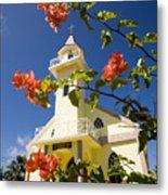 Flowers And Church On Takapoto Atoll Metal Print