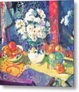 Flowers And Fruit In A Green Bowl Metal Print