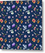 Flowers And Hummingbirds 2 Metal Print