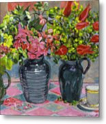 Flowers And Pitchers Metal Print