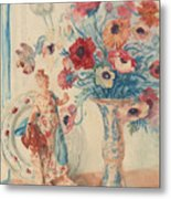 Flowers And Porcelain Metal Print