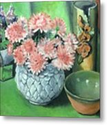 Flowers And Pottery Metal Print