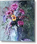 Flowers And Tea Metal Print