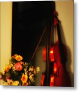 Flowers And Violin Metal Print