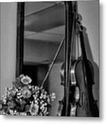 Flowers And Violin In Black And White Metal Print