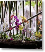Flowers And Waterfall Metal Print