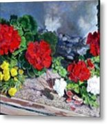 Flowers At Church Metal Print
