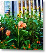 Flowers At The Fountain Of The Plaza Hotel Metal Print