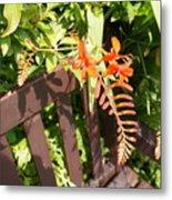 Flowers' Bench Metal Print