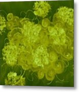 Flowers, Buttons And Ribbons -shades Of Chartreuse Metal Print