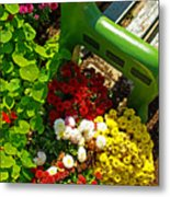 Flowers By Green Bench Metal Print