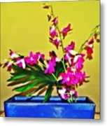 Flowers In A Blue Dish - Japanese House Metal Print
