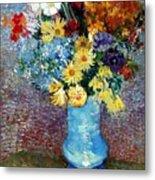 Flowers In A Blue Vase  Metal Print