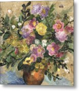 Flowers In A Clay Vase Metal Print