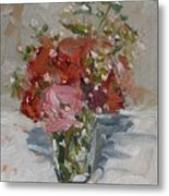 Flowers In A Glass Metal Print