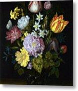Flowers In A Glass Vase Metal Print