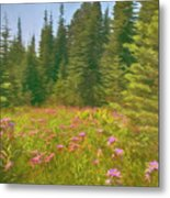 Flowers In A Mountain Glade Metal Print