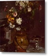 Flowers In A Vase And A Glass Of Champagne Metal Print